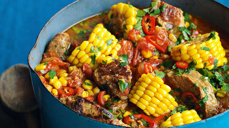 Image: Pork stewed in tomatoes, oregano and cumin with fresh sweetcorn