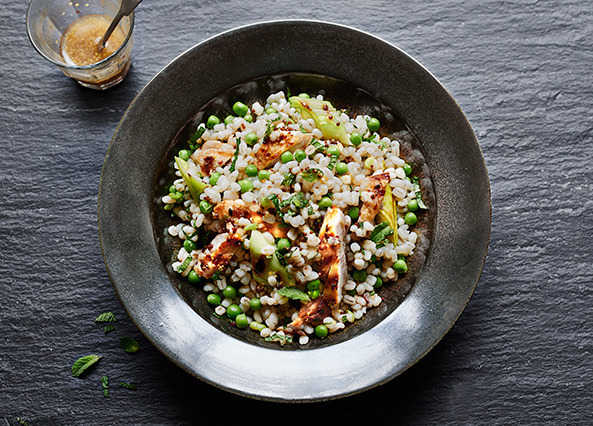 Image: Warm pearl barley and chicken salad with leeks