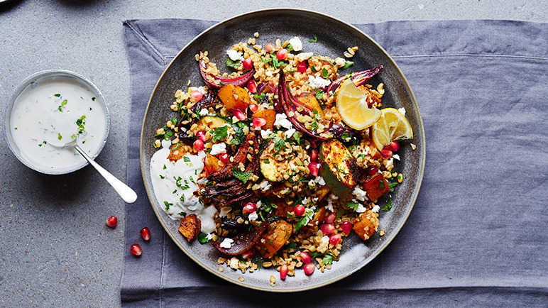 Image: Roasted spiced veg, freekeh and feta salad with a yoghurt and mint dressing