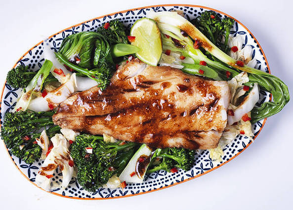 Image: Asian cod with stir fried greens