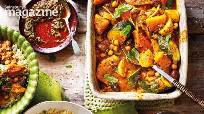 Image: Butternut squash and chickpea tagine with chermoula and preserved lemons