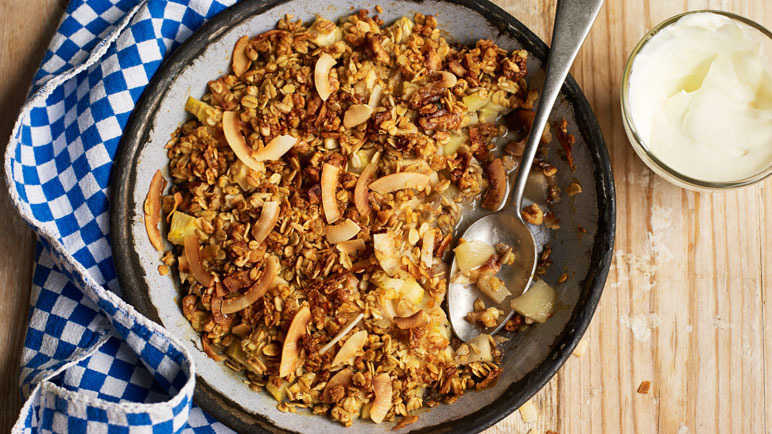 Image: Pear, cardamom and coconut crumble