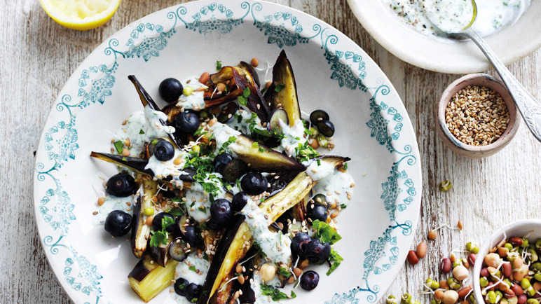 Image: Roast aubergine with yogurt, sliced blueberries and parsley