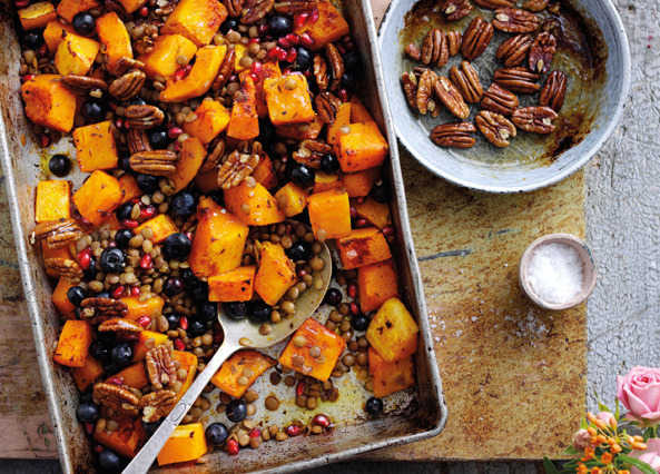 Image: Roasted pumpkin, blueberries and spiced lentils