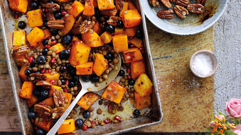 Recipe roasted pumpkin blueberries and spiced lentils for Pomegranate molasses sainsburys