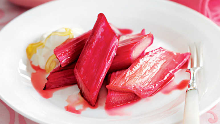 Roasted rhubarb with maple syru image