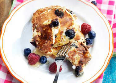 Image: Cottage cheese and blueberry pancakes