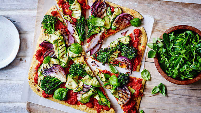 Image: Socca pizza with chargrilled veg