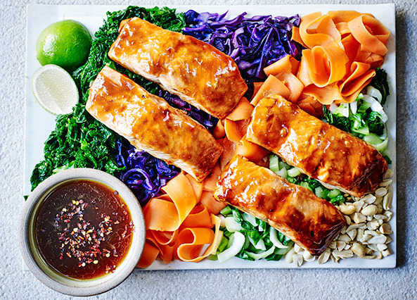 Image: Sticky salmon with crushed peanuts