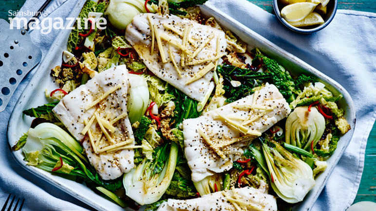 Image: Sizzling haddock with greens and sesame seeds