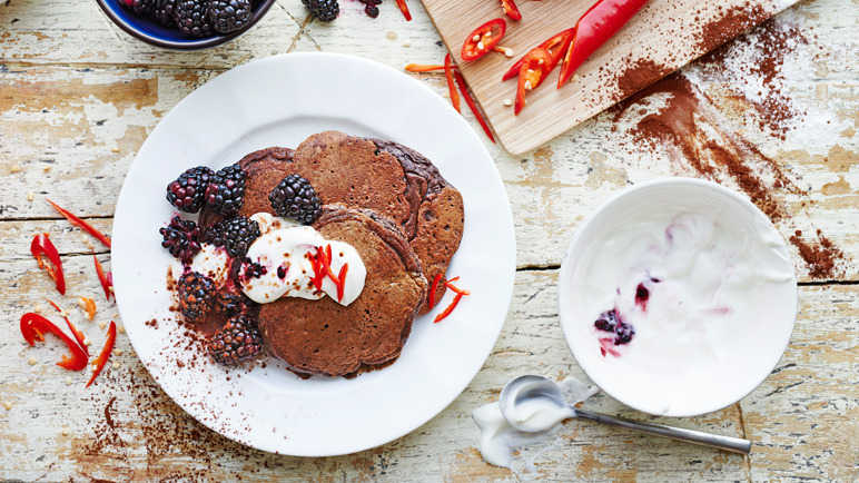 Image: American style chocolate chilli pancakes