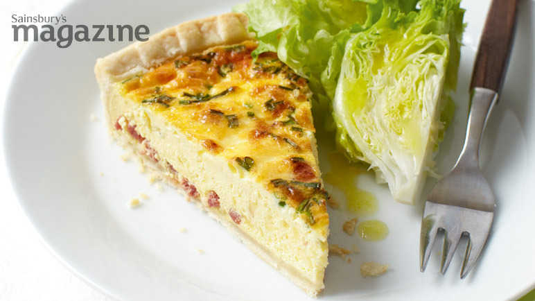 Bacon, cheese and chive quiche