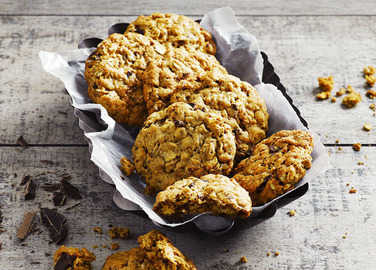 Image: Peanut butter, oat and choc chip cookies