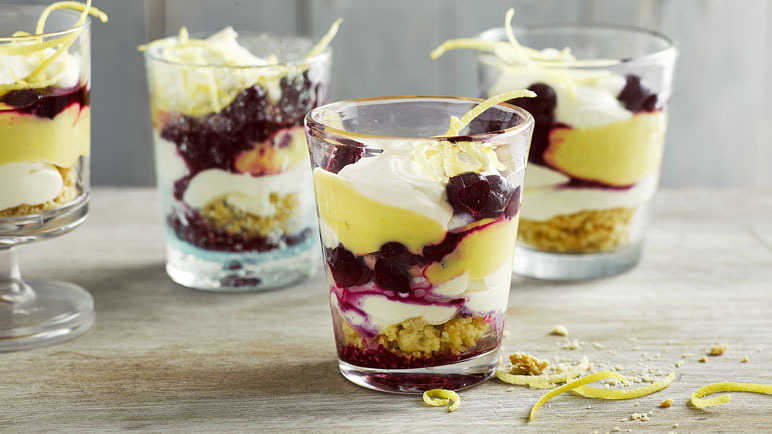 Image: Blueberry and lemon cheesecake pots