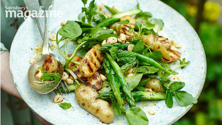 Image: Griddled new potatoes with asparagus and hazelnuts