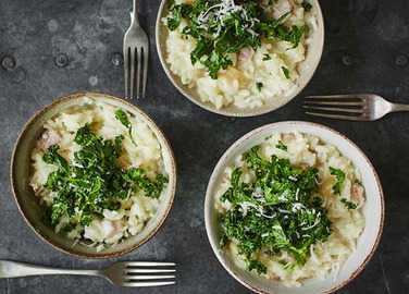 "Image: Microwave risotto with ""roasted"" garlic and kale"