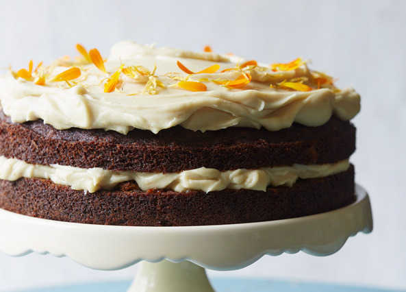 Image: Pumpkin, carrot and walnut cake with cashew orange 'frosting'