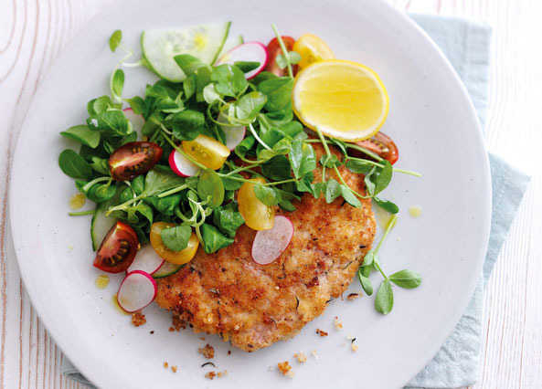 Image: Pork escalopes with lemon, garlic and rosemary