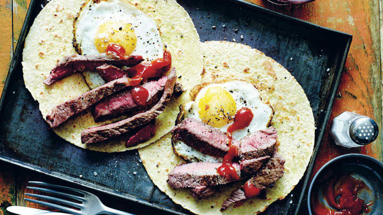 Image: Steak and egg breakfast tacos