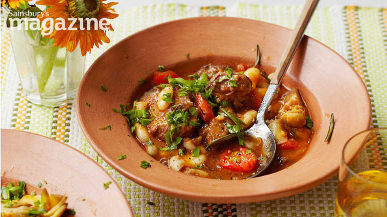 Image: Lamb stew with artichokes, cannellini beans and sunsoaked tomatoes