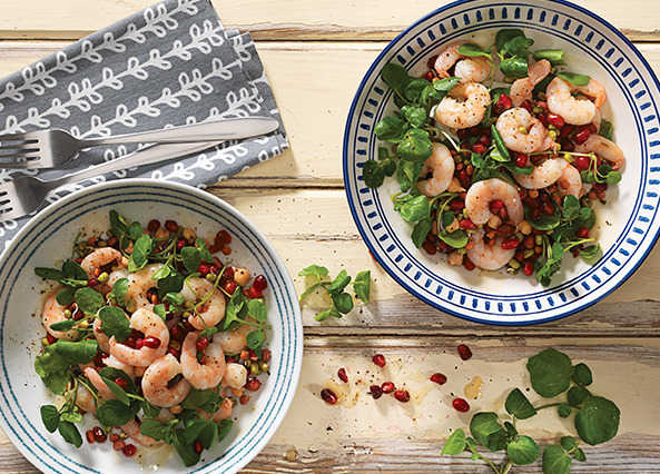 Image: Prawn and pomegranate