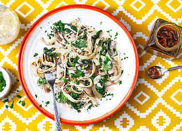 Image: Mushroom and spinach pasta with caramelised onion chutney