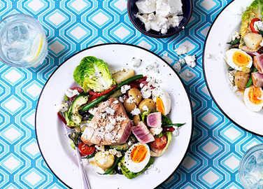 Image: Tuna nicoise salad with feta twist