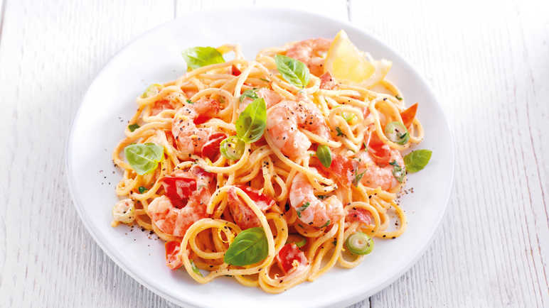 Image: Majestic tomato and prawn spaghetti