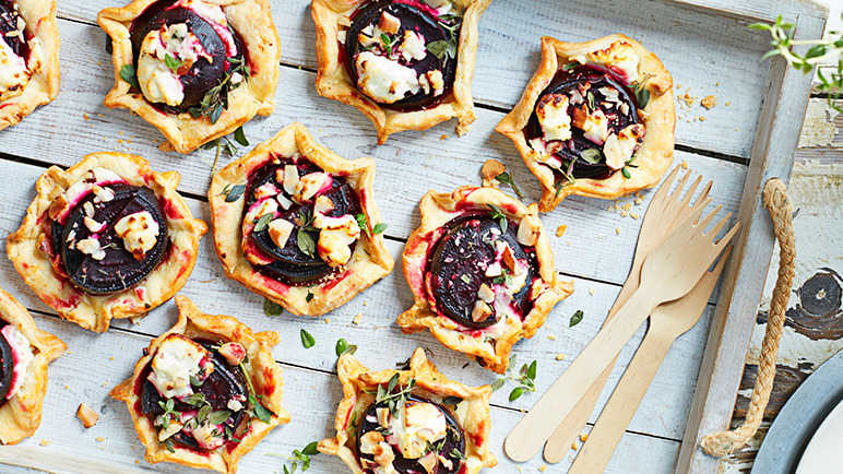Image: Beetroot, goat cheese and hazelnut galettes