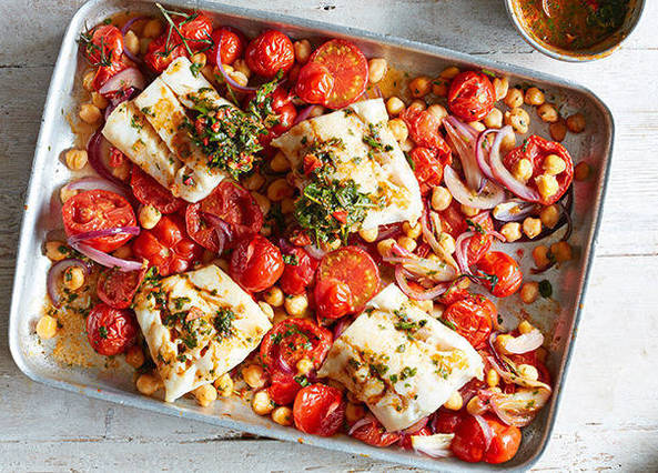 Cod with chickpeas and chermoula