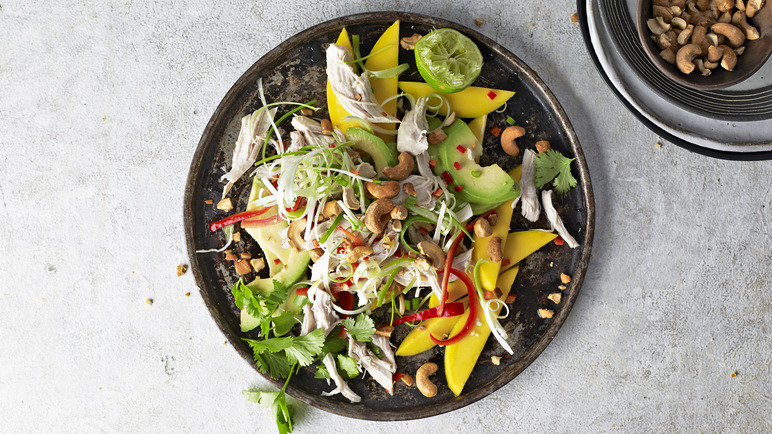 Image: Coconut poached chicken with mango salad