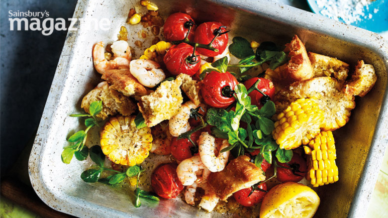King prawn, roasted tomato and corn salad