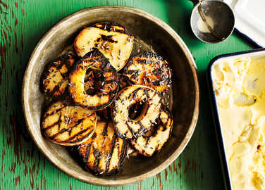 Image: Charcoal-grilled peaches with lavender honey and mascarpone ice cream
