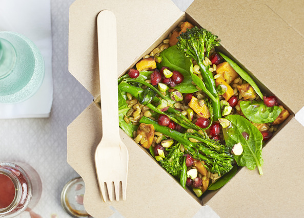 Image: Roasted sweet potato, pistachio and pomegranate salad