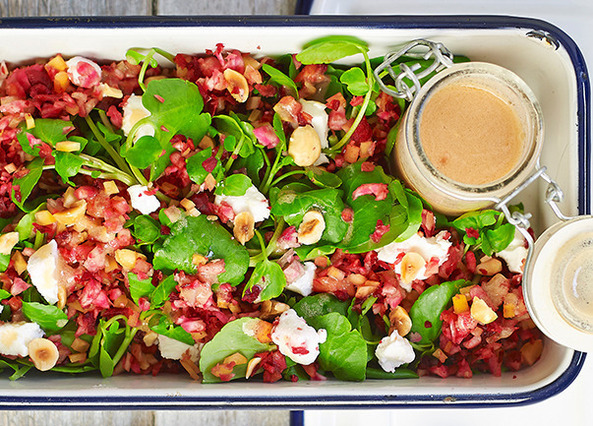 Image: Beetroot rice salad with watercress and goats cheese with a hazelnut dressing