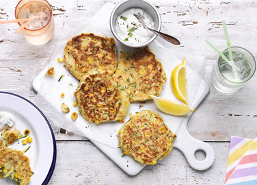 Image: Sweetcorn and courgette pancakes