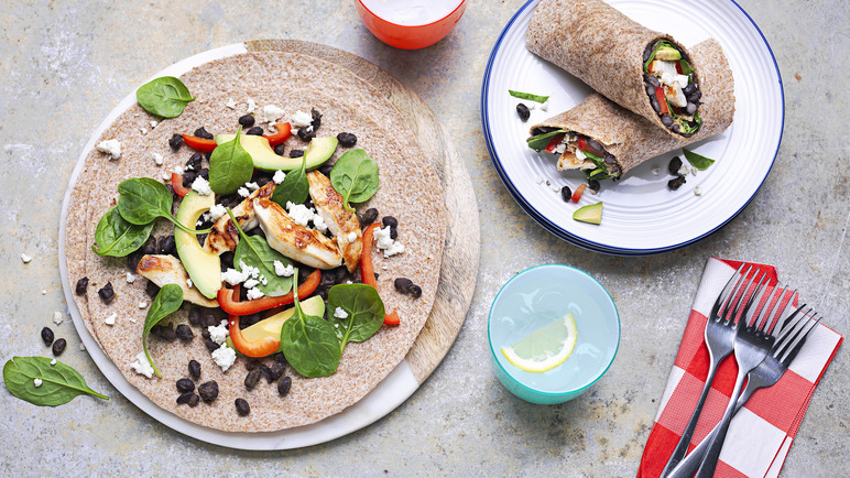 Image: Chicken, avocado and black bean wrap
