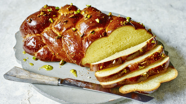 Image: Orange blossom and pistachio plaited loaf