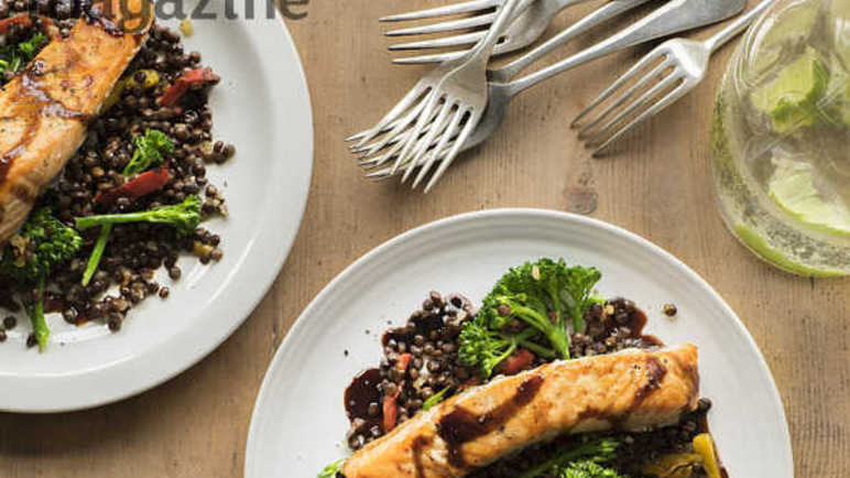 Image: Grilled salmon and puy lentil salad