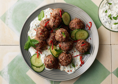 Image: Chili cumin lamb meatballs with cucumber yoghurt sauce