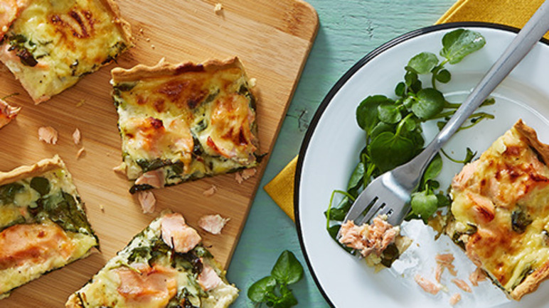Image: Summer salmon and watercress tart