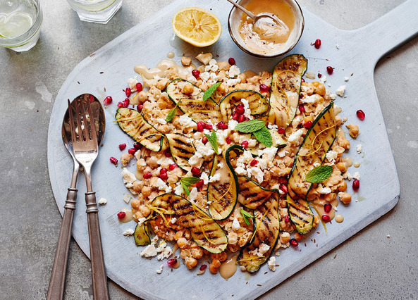Image: Smashed chickpeas with grilled courgette