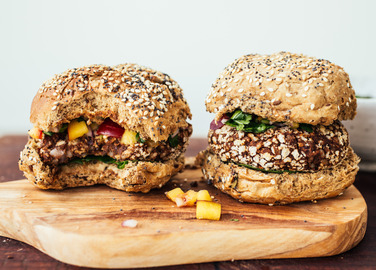 Image: Black bean and avocado burgers with nectarine salsa