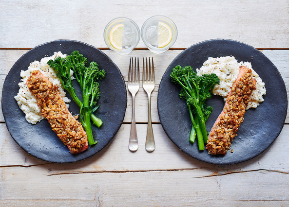 Image: Walnut coated salmon with a goat's cheese cauliflower mash