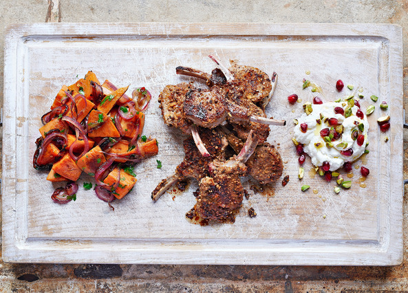 Image: Dukkah crusted lamb with spiced sweet potatoes and labneh