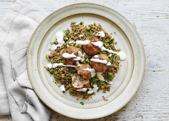 Image: Chicken polpette with herby quinoa and yogurt dressing