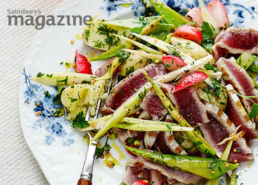 Image: Warm pickled veg with seared tuna and herbs