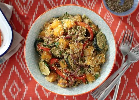 Image: Roasted vegetable couscous with a pesto twist