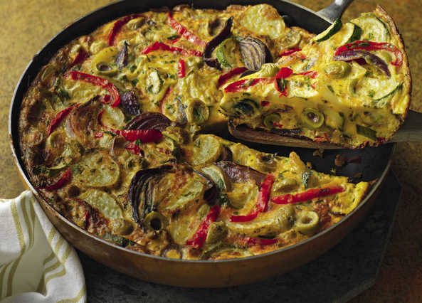 Video: Roast vegetable tortilla with olives