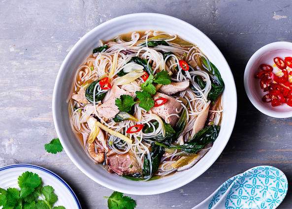 Image: Pork, spinach and mushroom miso broth